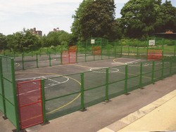 Mesh fencing for sports arears